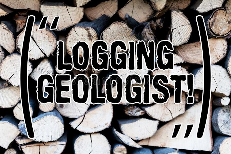 Disposizione di significato di Concept del geologo della registrazione del testo della scrittura ed esecuzione del fondo di progr fotografia stock