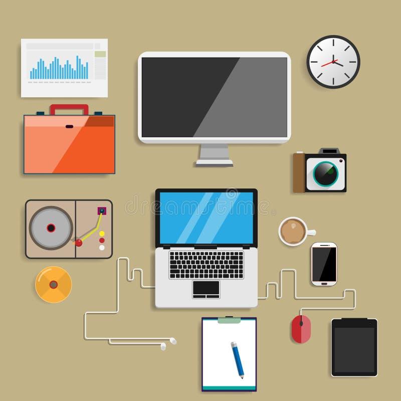 Disposizione di tiraggio del progettista di web del sito Web sul posto di lavoro di carta con riferimento a illustrazione vettoriale