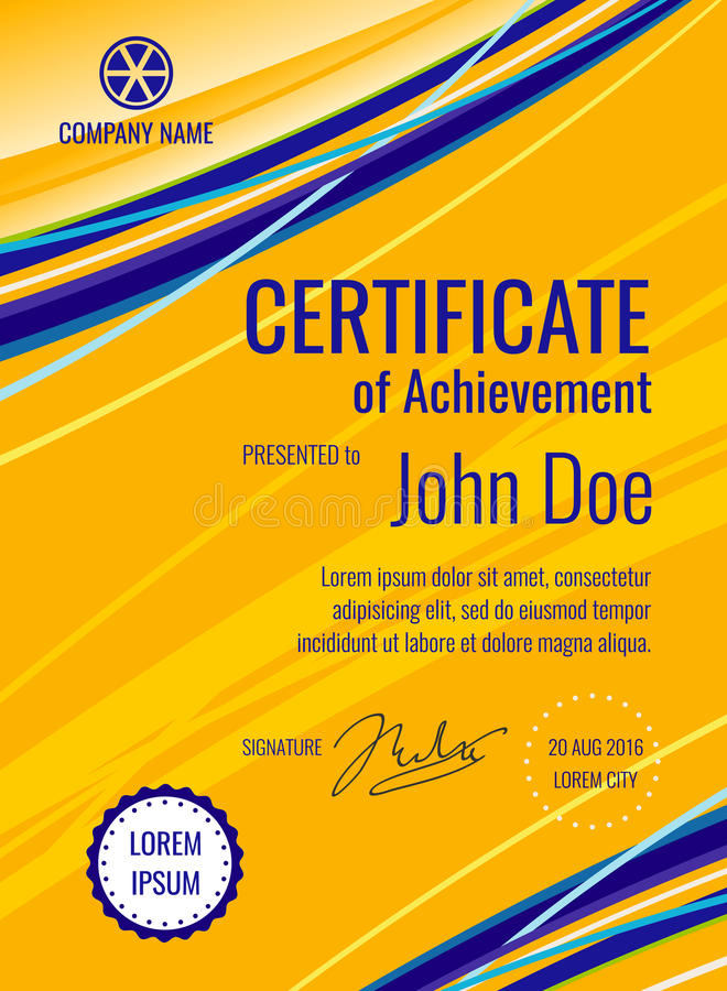 Disposizione di vettore del diploma del modello del certificato illustrazione vettoriale