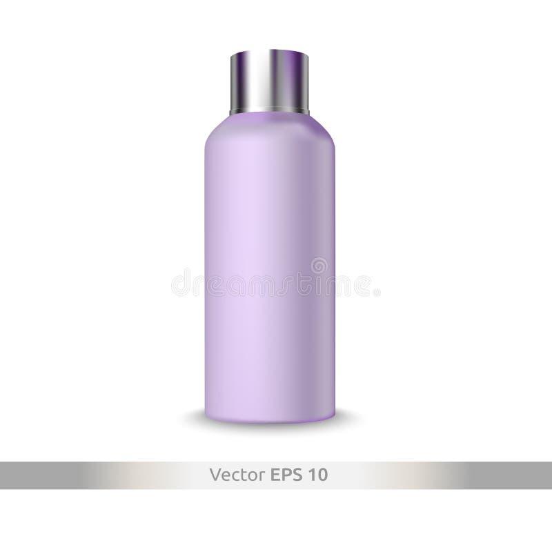 Disposizione di vettore - un barattolo di plastica per lozione, crema Primo piano cosmetico isolato illustrazione vettoriale