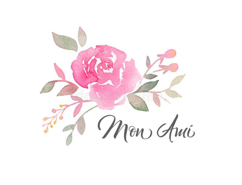 Disposizione dipinta a mano dell'acquerello con i fiori rosa illustrazione di stock