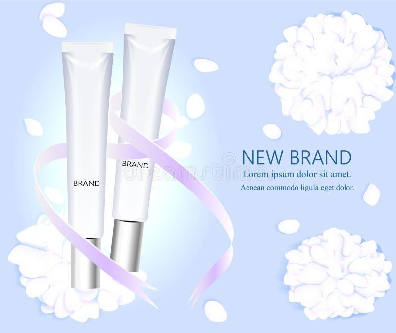 Disposizione e progettazione cosmetica Due bottiglie vuote sui precedenti dei petali del fiore Illustrazione di vettore illustrazione vettoriale