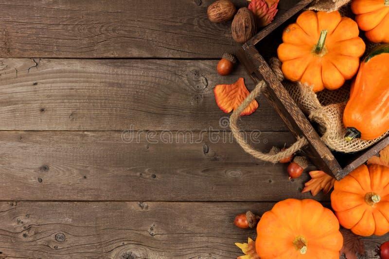 Disposizione laterale di autunno delle foglie e delle zucche sopra legno fotografia stock
