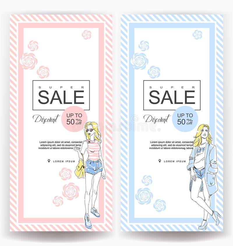 Disposizione per una grande vendita nel negozio di modo Ragazza elegante di modo tirato in vestiti alla moda illustrazione vettoriale