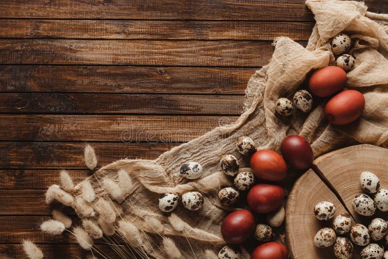 disposizione piana con le uova di Pasqua della quaglia e del pollo su garza su fondo di legno immagini stock