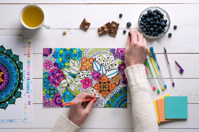 Disposizione piana, libro da colorare femminile dell'adulto di coloritura fotografia stock