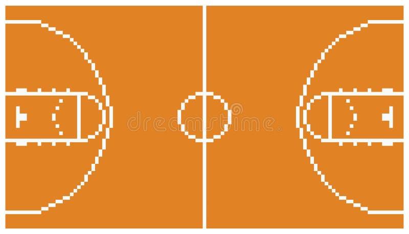 Disposizione retro 8 della corte di sport di pallacanestro di arte del pixel illustrazione vettoriale