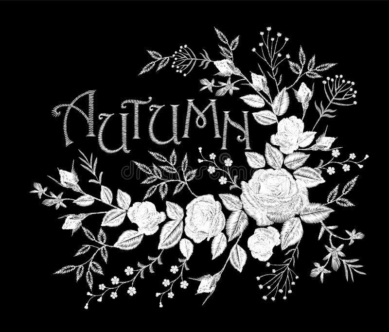 Disposizione rosa di autunno dell'iscrizione del pizzo bianco d'annata del fiore Toppa floreale della decorazione di modo del ric illustrazione di stock