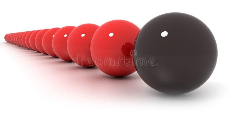 Disposizione rossa e nera delle sfere di biliardo illustrazione di stock
