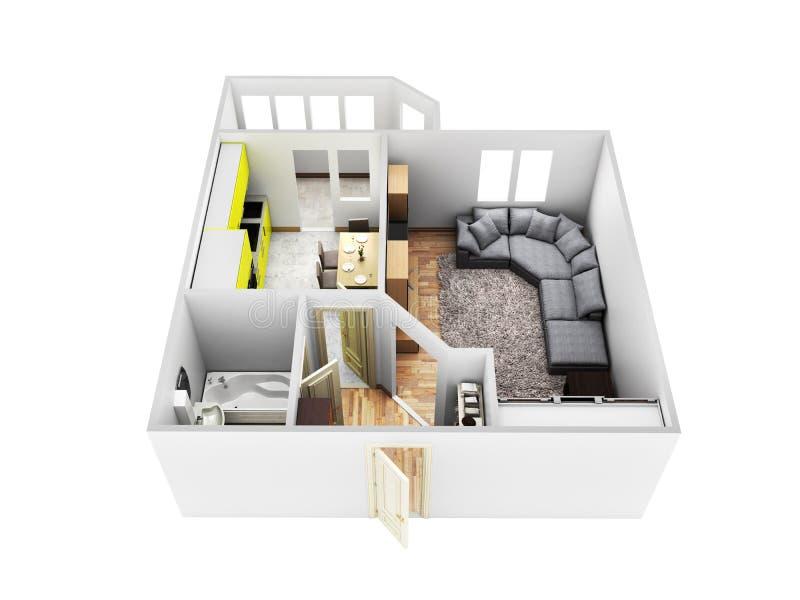 Disposizione senza tetto 3d dell'appartamento dell'appartamento interno rendere senza ombra royalty illustrazione gratis