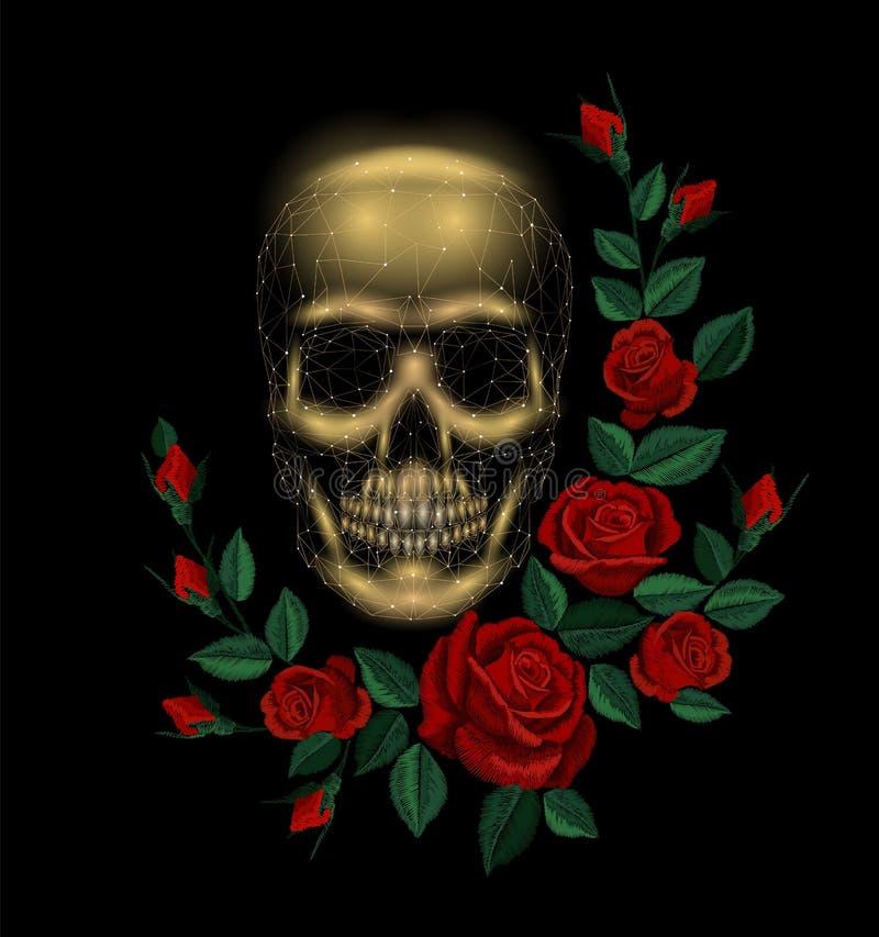 Disposizione umana d'annata della rosa rossa del fiore dell'osso del cranio Toppa della decorazione di modo del ricamo Poli trian illustrazione di stock