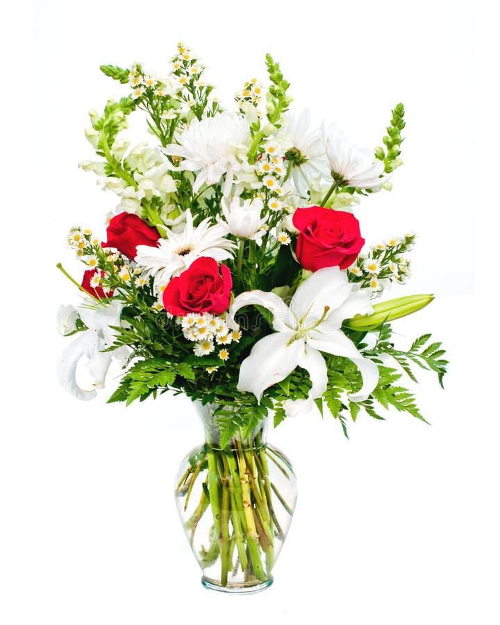Disposizione variopinta del mazzo del fiore in vaso immagine stock