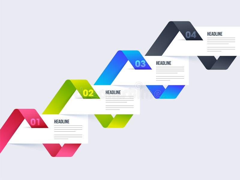Disposizione variopinta di Infographics di cronologia con quattro punti illustrazione di stock