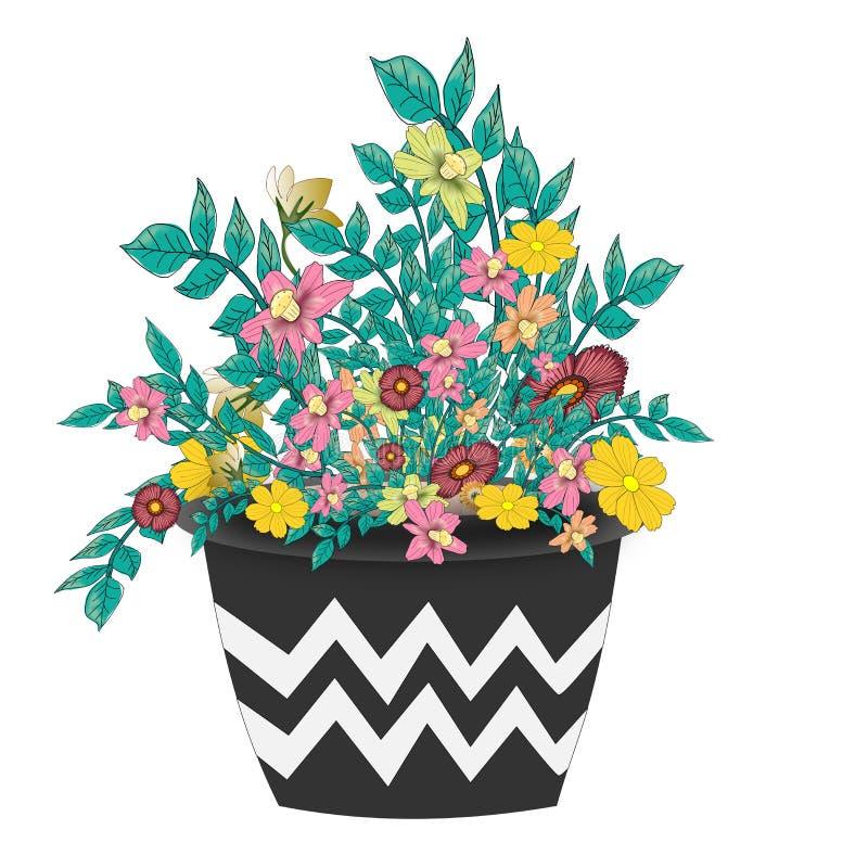 Disposizioni dei fiori in un vaso royalty illustrazione gratis
