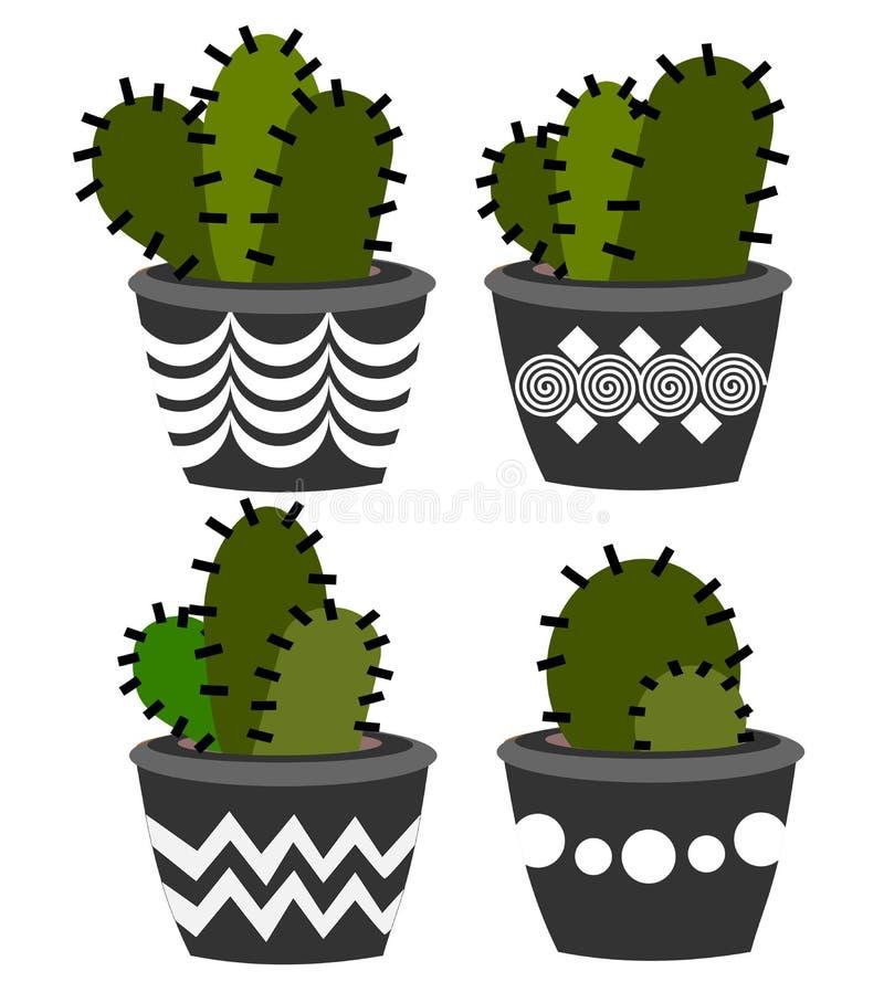 Disposizioni del cactus isolate illustrazione vettoriale