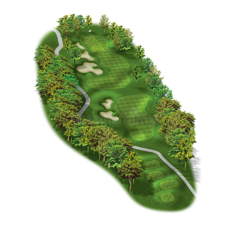 disposizioni del foro di terreno da golf 3D illustrazione di stock