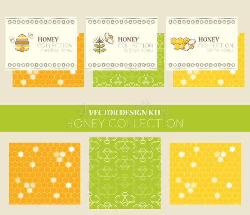 Disposizioni di progettazione di vettore - raccolta naturale del miele illustrazione di stock