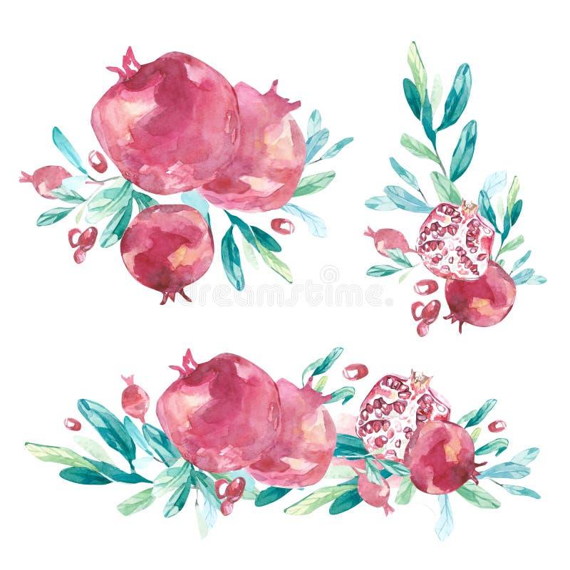 Disposizioni floreali di estate dell'acquerello con frutta tropicale royalty illustrazione gratis