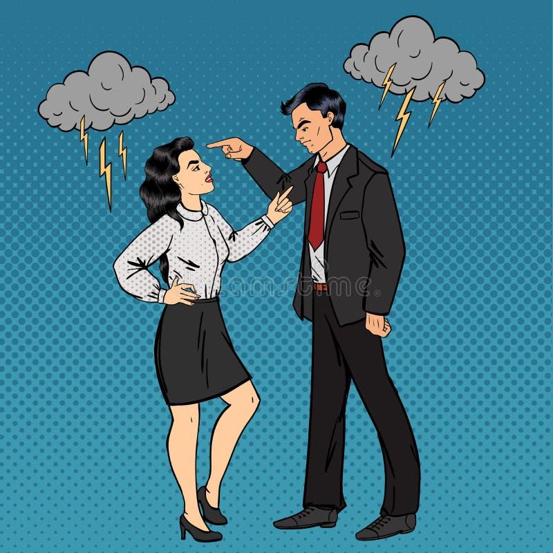 Disputa entre o homem e a mulher Conflito da família ilustração royalty free