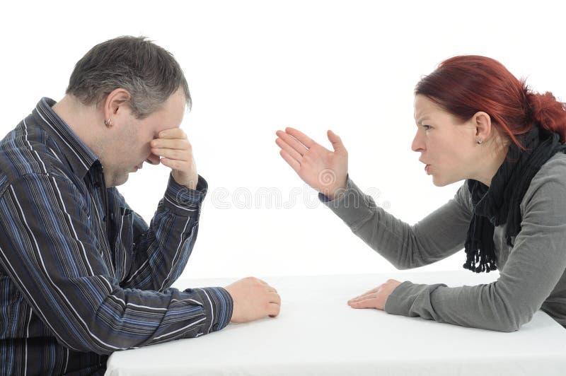 Dispute. Women and men having conflict dispute