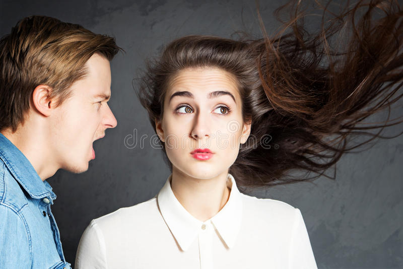 Dispute. Competing in the difficult partnership stock photography