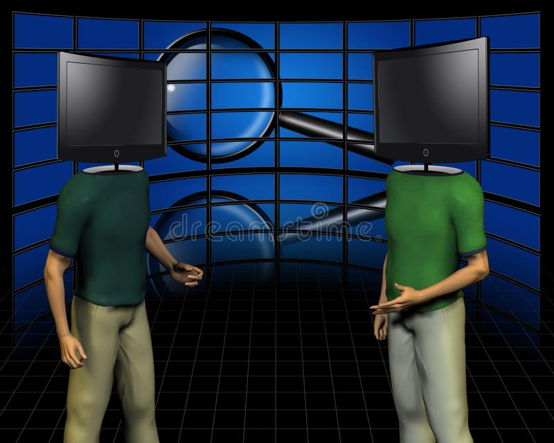 Dispute. TV screens - head man stock illustration