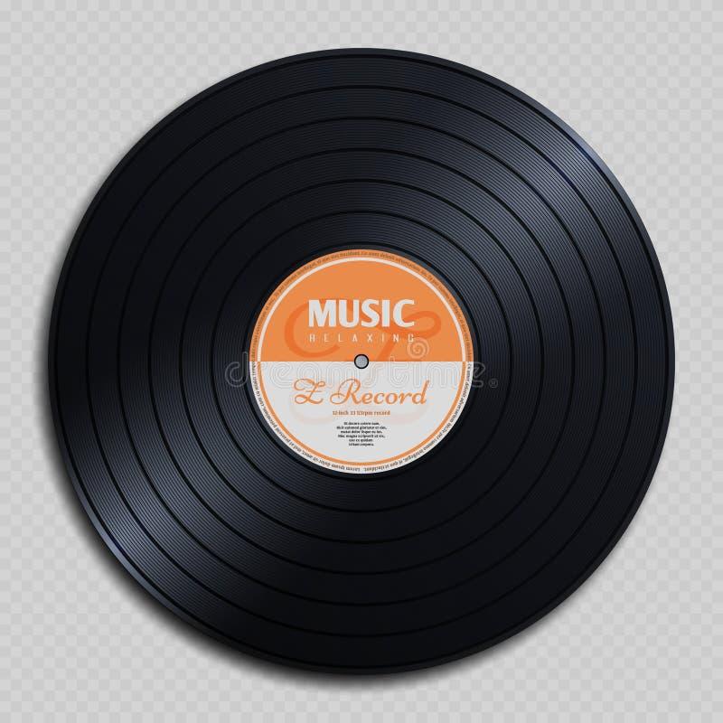 Disque audio de vintage de vinyle de disque d'analogue d'isolement sur l'illustration transparente de vecteur de fond illustration stock