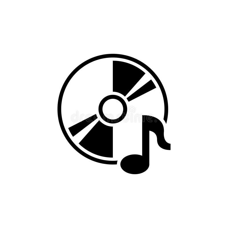 Disque compact de musique Icône plate de vecteur de CD ou de DVD illustration de vecteur