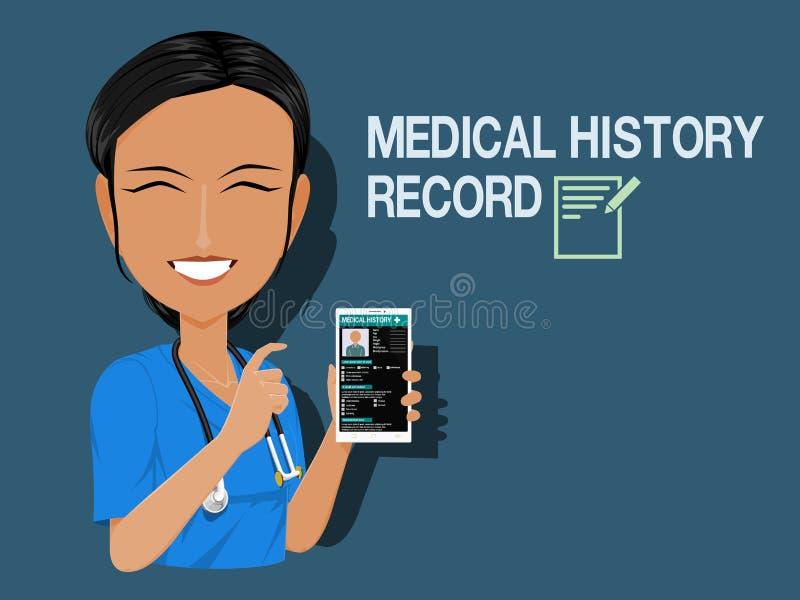 Disque d'antécédents médicaux d'exposition de personnel médical illustration libre de droits