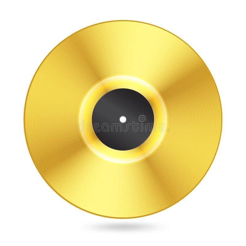 Disque d'or réaliste de vinyle illustration de vecteur