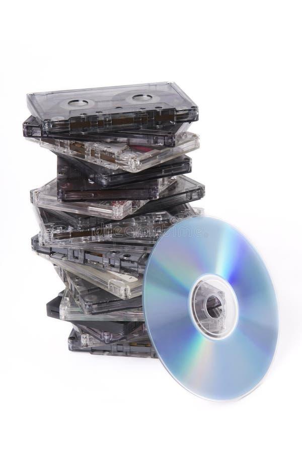 disque de cassettes contre photographie stock libre de droits