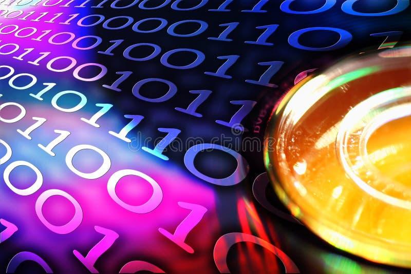 Disque de DVD avec le code de Binaire illustration libre de droits