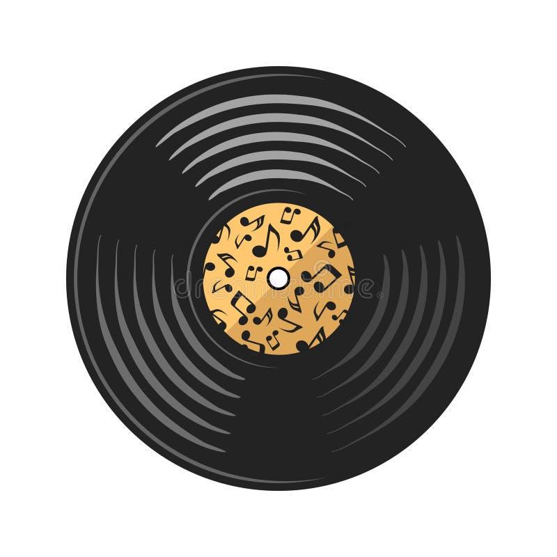 Disque de disque de vinyle de vecteur sur le blanc, illustration courante illustration stock