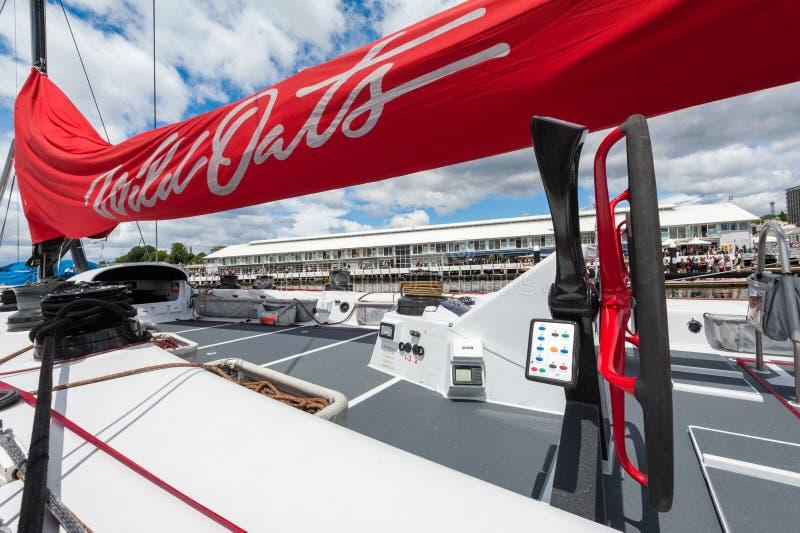 Disque 11 des avénerons XI cassant la victoire à Sydney à Hobart Yacht Race - maxi, roulée voile de pointe photographie stock libre de droits