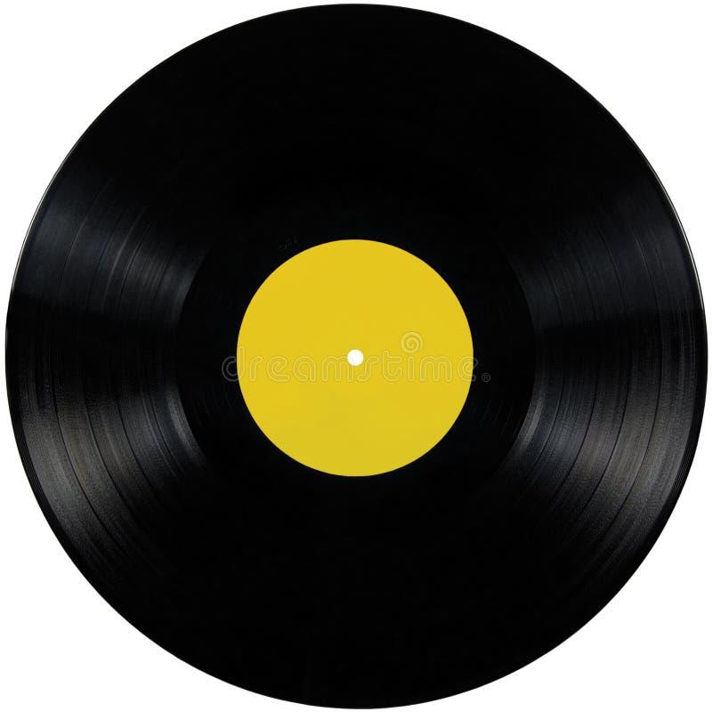 Disque noir d'album de lp de disque vinyle, disque d'isolement de disque de long jeu, l'espace jaune vide de copie de label de bl photos stock