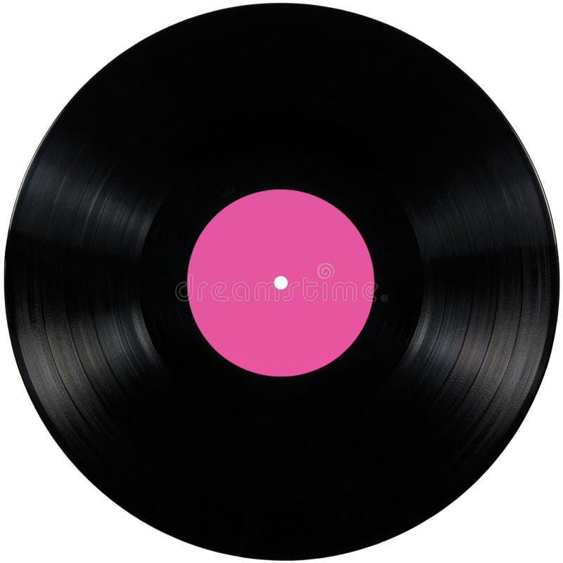 Disque noir d'album de lp de disque vinyle, disque d'isolement de long jeu, l'espace de copie de label de blanc dans le rose photographie stock