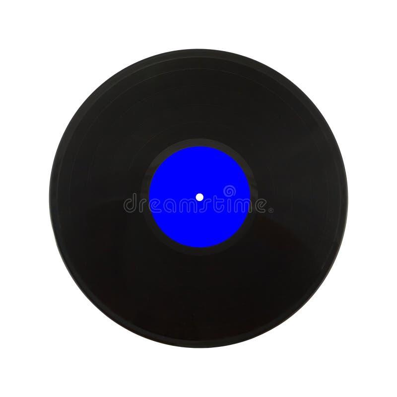 Disque noir de LP d'isolement sur le plan rapproché blanc photographie stock libre de droits