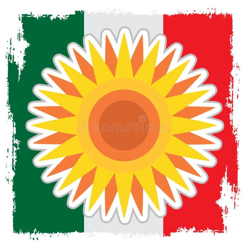 Disque stylisé du soleil avec les rayons pointus sur le fond du drapeau mexicain illustration de vecteur