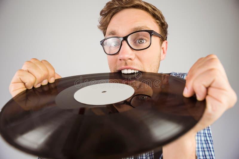 Disque vinyle acéré de hippie Geeky image stock