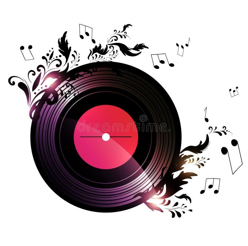 disque vinyle avec la d 233 coration florale de musique image libre de droits image 27945996