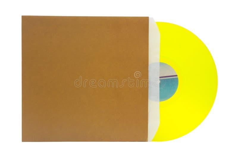 Disque vinyle avec le cache photo stock