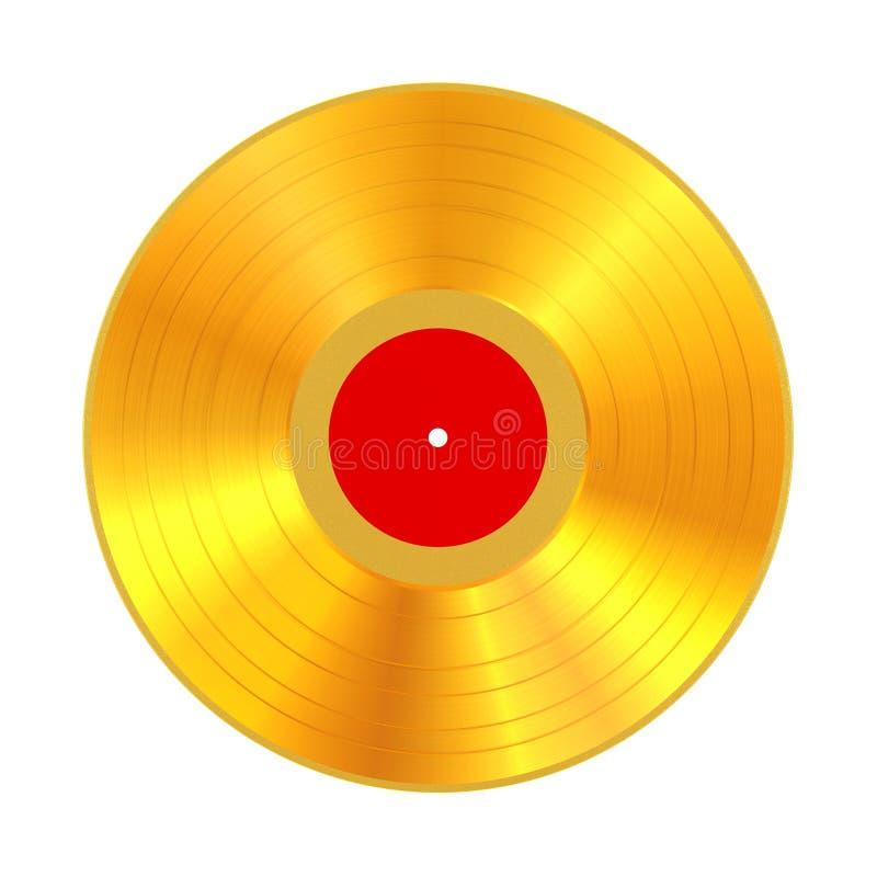 Disque vinyle d'or avec le label vide rouge rendu 3d illustration de vecteur