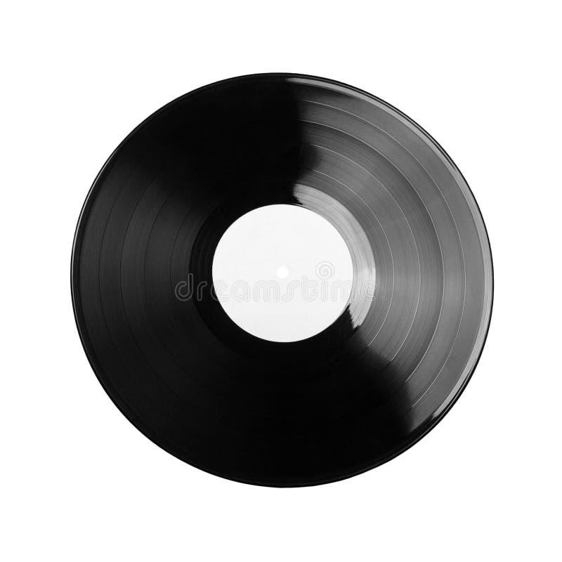 Disque vinyle noir d'isolement sur le fond blanc images stock