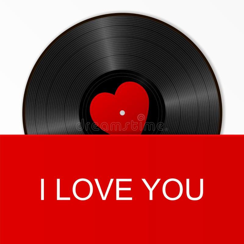 Disque vinyle noir réaliste avec le label rouge de coeur dans une couverture lumineuse avec le texte je t'aime Rétro transporteur illustration de vecteur