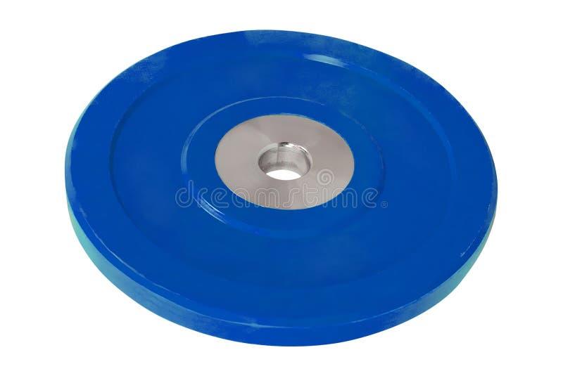 Disques bleus pour des haltères photos libres de droits