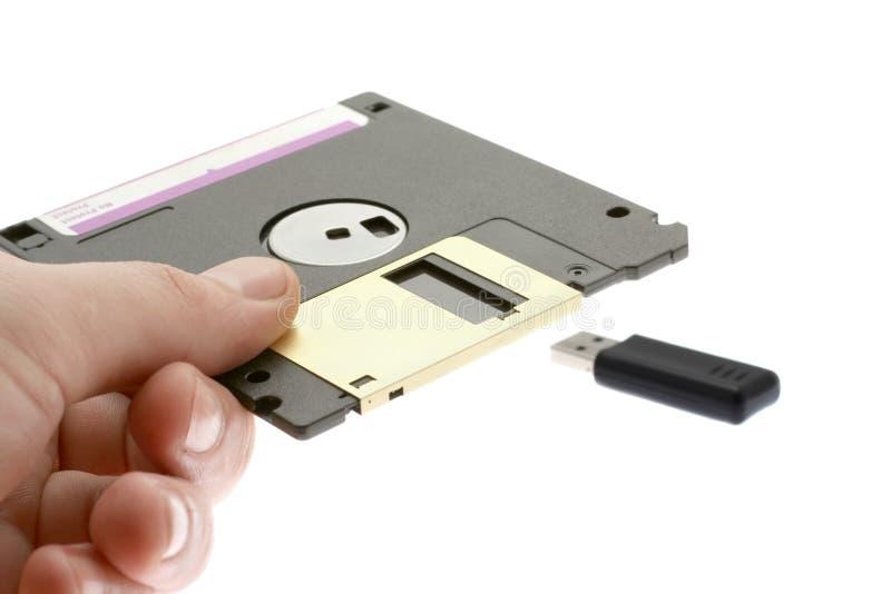 Disquete e USB velhos fotografia de stock