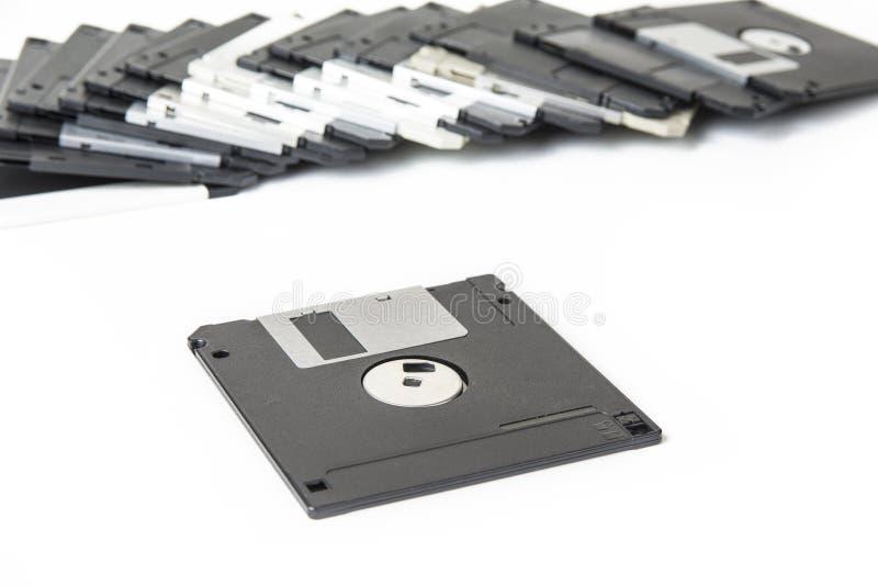 Disquetes velhas para o computador no branco imagem de stock royalty free