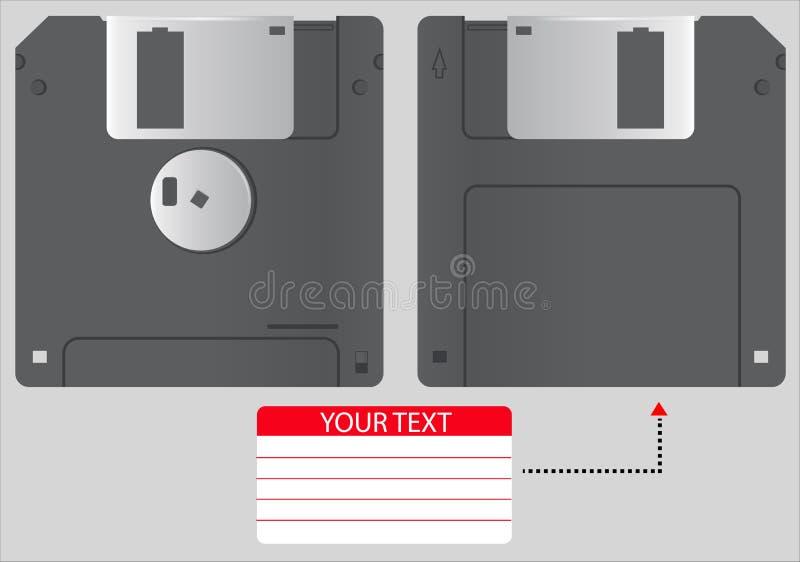 Disquette d'illustration de vecteur de 3 5 pouces d'isolement sur le fond gris 3D réaliste à disque souple dans l'avant et la vue illustration libre de droits