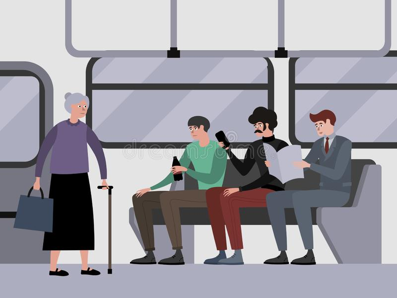Disrespect to pensioners, grandmother. Young guys do not give way to public transport. Indifference. In minimalist style. Cartoon flat Vector Illustration royalty free illustration