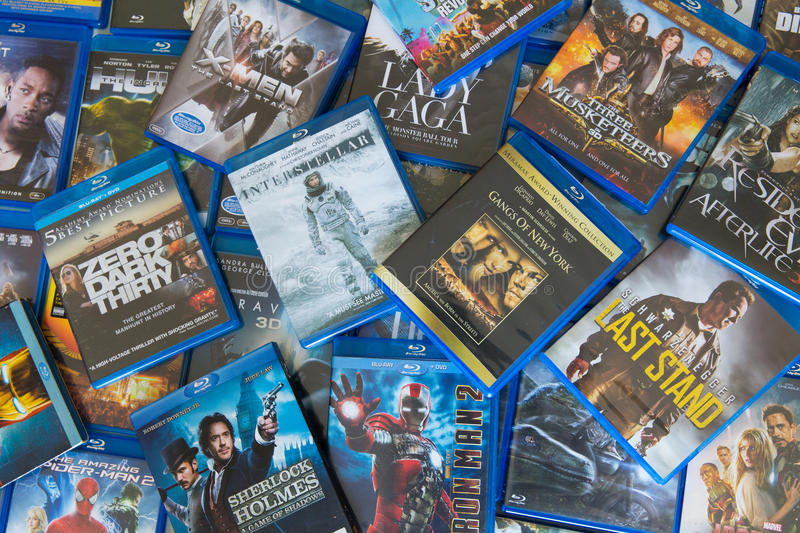 Disrupted Blu-ray Discs Movies royalty free stock photos